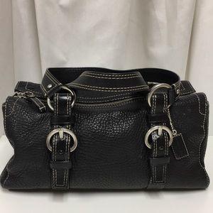 Coach Black Pebbled Leather Satchel Bag